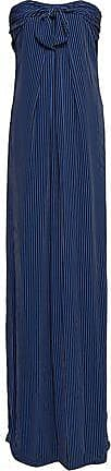 Halston Heritage Halston Heritage Woman Strapless Knotted Striped Crepe Gown Navy Size 12