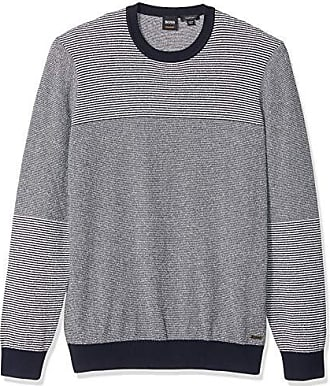 743e640d Boss Orange by Hugo Boss Mens Kapowe Long Sleeve Crewneck Striped Sweater,  Dark Blue,