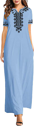 Vonda Women Embroidered Dresses Summer Beach Casual Maxi Dress Loose V Neck Gowns Embroidered -Light Blue 2XL
