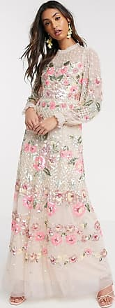 Needle & Thread floral embellished maxi dress in blush-Pink