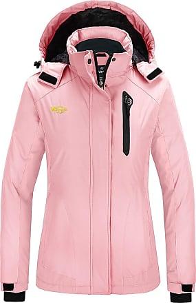 Wantdo Womens Winter Ski Jacket Hooded Waterproof Outdoor Pink Large