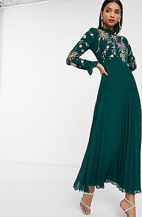 Asos embroidered pleated maxi dress with fluted sleeve-Green