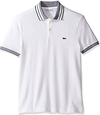 a35383cd1 Lacoste Mens Short Sleeve Semi Fancy Stretch with Fine Stripe Slim Polo,  White/Ship