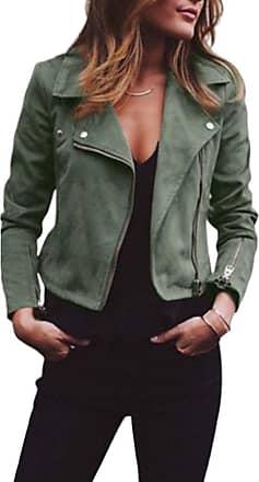 Daytwork Women Faux Suede Biker Jacket Lapel Collar Zip up Short Moto Ladies Blazer Coat Cardigan Slim Cool Jackets Winter Tops Green