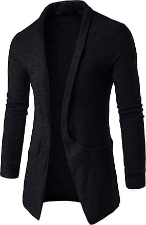 Whatlees Unisex Hip Hop Urban Basic Long Sleeve Solid Cardigan Contrasting Inset 02020003XBlack+L