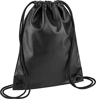 BagBase Faux Leather Gymsac (One Size) (Black)