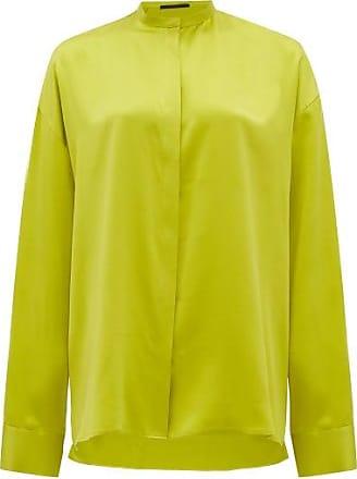 Haider Ackermann Mandarin-collar Silk-satin Blouse - Womens - Light Green