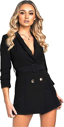 Ikrush Georgia Belted Blazer Dress Black UK M