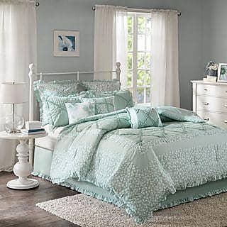 Nala 9-Piece Queen Comforter Set in Grey Green
