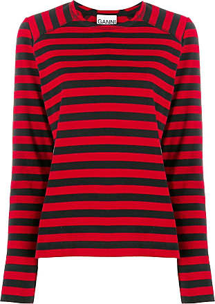 Ganni Camiseta listrada mangas longas - Preto