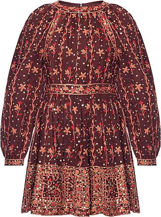 Ulla Johnson Daya Embroidered Dress Womens Burgundy
