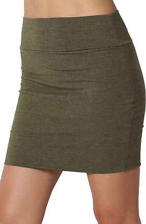 The Celebrity Fashion New Womens Jersey High Waist Bodycon Mini Skirt Elasticated Short Skirts UK 8-14 Khaki