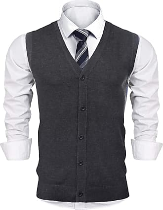 iClosam Mens V-Neck Sleeveless Jumpers Knitted Gilets Vest Thick Cardigan Sweater Dark Grey