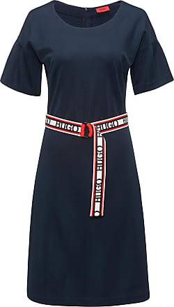 HUGO BOSS Tulip-sleeve jersey dress with reversible logo-tape belt