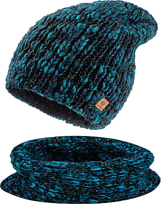 morefaz Set Scarf & Hat Women Winter Beanie Hat Worm Knitted Alpaca Wool Hats Fleece Lining (Set Scarf&Hat Green Stone)