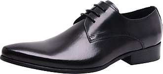 Jamron Mens High-End Custom Derby Lace-Ups Genuine Leather Dress Shoes Pointed-Toe Oxfords Formal Shoes Black SN01721 UK10.5