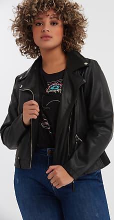 MS Mode Damas Chaqueta motera de cuero sintético Negro 9115406fa1da