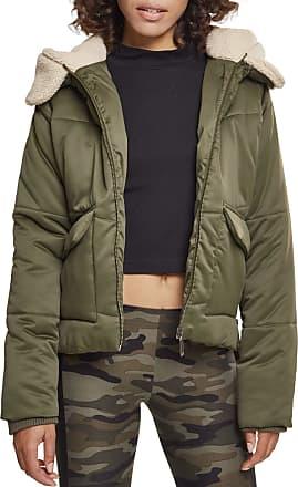 Urban Classics Womens Ladies Sherpa Hooded Jacket, Multicolour (Dark-Olive/Dark Sand 01480), X-Small