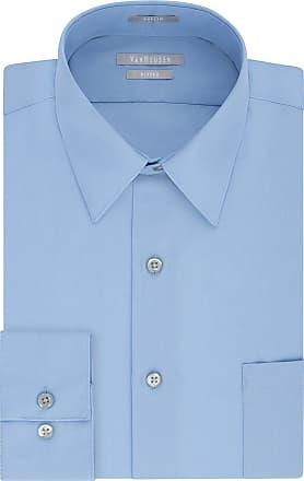 Van Heusen Mens Poplin Fitted Solid Point Collar Dress Shirt, Cameo Blue, 16.5 Neck 34-35 Sleeve