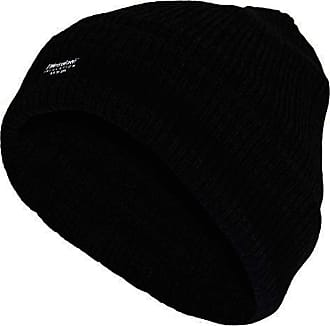True Face Mens hat Thin Insulation Warm Cap Lined Woolly Knitted Insulate Head Wear (Black, One Size)