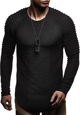 LEIF NELSON Mens Sweater Long Sleeve Crew Neck Sweatshirt LN-8129 Black XX-Large