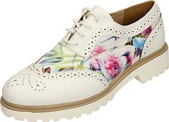 Spot On Ladies Lace Up Brogue Shoes - White - Size 5 UK / 38 EU
