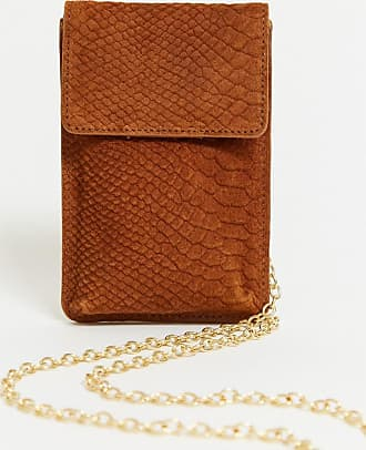 Urban Code leather cross body phone bag with chain strap in tan