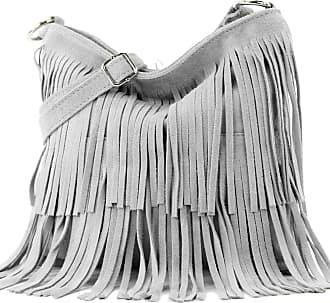 modamoda.de Ital. Leather bag Shoulderbag Shoulder bag Ladiesbag Wild leather T125, Colour:Tele gray