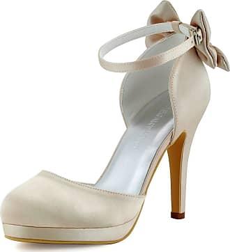 Elegantpark AJ091-PF Women Closed Toe High Heel Ankle Strap Platform Pumps Satin Wedding Evening Court Shoes Champagne UK 5(EU 38)
