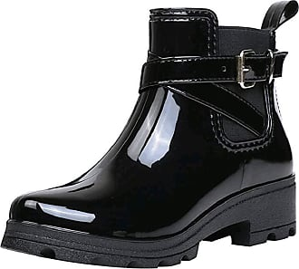 Yvelands Ankle Rain Boots Women Ladies Fashion Glossy Waterproof Wellington Wellies Boots with Buckle Strap Mid Low Block Heel Chelsea Water Boots Black