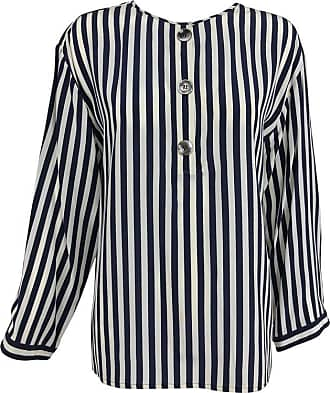 1da3088e9bb403 Valentino Valentino Navy Blue And White Stripe Silk Blouse