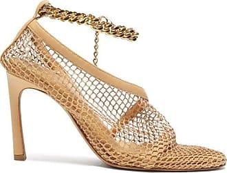 Bottega Veneta Anklet-embellished Mesh Pumps - Womens - Beige