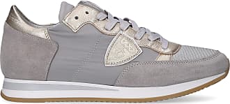 Philippe Model Low-Top Sneakers TROPEZ calfskin suede textile Logo Patch grey