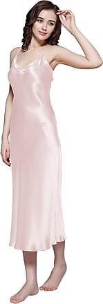 LilySilk 100% Mulberry Silk Nightdress Long Ladies Nightgown for Women 22 Momme Pure Silk Light Pink Size 18/XL