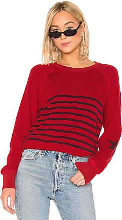 Sundry Striped Raglan Pullover in Red