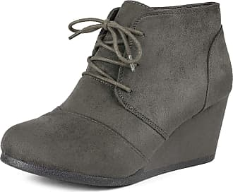Dream Pairs Tomson Womens Casual Fashion Outdoor Lace Up Low Wedge Heel Booties Shoes Gery Size 9.5 M US / 7.5 UK Grey