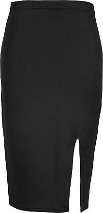 Be Jealous Womens Side Split Midi Skirt Ladies Smart Casual Pencil Wiggle Stretchy Bodycon Plus Size (UK 16/18) Black