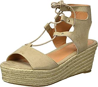 Qupid Womens Espadrille Wedge Sandal, Light Taupe Suede Polyurethane, 10 M US