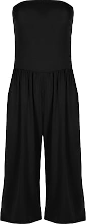Be Jealous Womens Ladies Boobtube Sleeveless Ruched Pleated Palazo Jumpsuit Playsuit Black