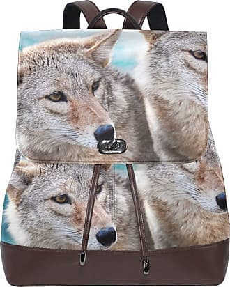 Ahomy Ladies Fashion PU Leather Backpack Coyote Wolf Pair Anti-Theft Rucksack Shoulder Bag