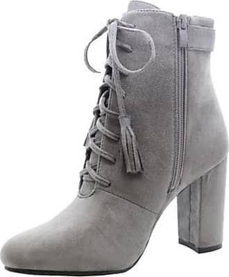 Saute Styles Ladies Women High Block Heel Lace Up Fringe Chelsea Ankle Boots Biker Shoes Size 8