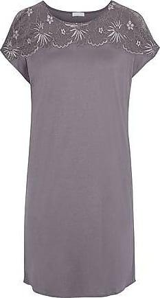 Hanro Hanro Woman Greta Lace-paneled Modal And Silk-blend Nightdress Gray Size XS