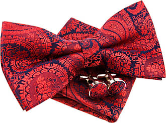 Retreez Paisley Art Pattern Woven Microfiber Pre-tied Bow Tie (Width: 5) with matching Pocket Square and Cufflinks, Gift Box Set as a Christmas Gift, Birthday