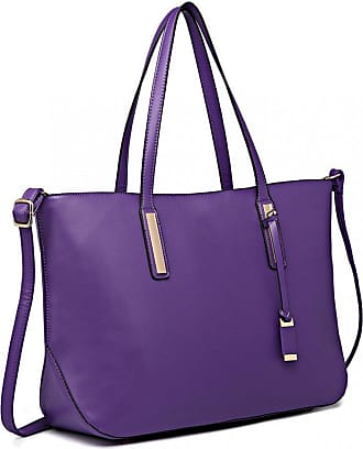 Quirk Leather Look Large Shoulder Tote Bag - Purple