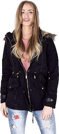 Noroze Womens Military Fur Hood Parka Coat Black