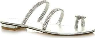 Ajvani Womens Ladies Low Heel Toe Ring Diamante Strappy flip Flop Sandals Size 5 38 Silver