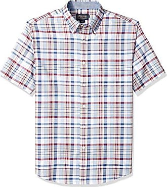 Pendleton Mens Short Sleeve Button Front Seaside Shirt, Light Blue/red Plaid, MD