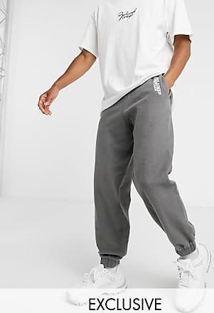Reclaimed Vintage inspired overdyed brushed jogger with logo-Grey