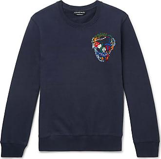 Alexander McQueen Embroidered Loopback Cotton-jersey Sweatshirt - Navy