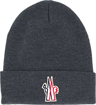 Moncler embroidered ribbed beanie - Cinza